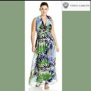 Vince Camuto Palm print V neck sleeveless dress ec